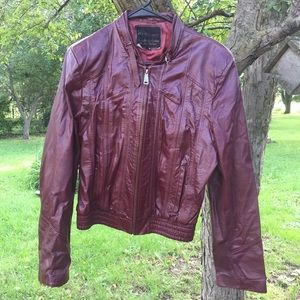 Vintage 70s Cranberry Leather Coat